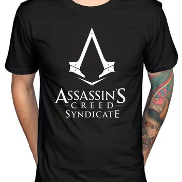 Official Mens Assassins Creed Syndicate Logo T-Shirt Pirates Rogue Identity Game T Shirt Hot Topic Men Short Sleeve Top Tee