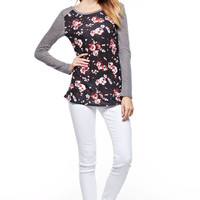 Navy Floral with Heather Grey Sleeves