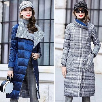 Reversible Women's Down Long Winter Coat