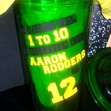 Custom Football Packers Aaron Rodgers Tumbler Cup