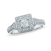 1/8 CT. T.W. Diamond Square-Shaped Promise Ring in Sterling Silver - Size 7