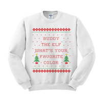 Buddy The Elf What's Your Favorite Color Crewneck Sweatshirt