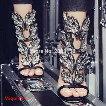 Hot sale rhinestone leaves cut outs women caged high heels gladiator sandals summer crystal winged party shoes