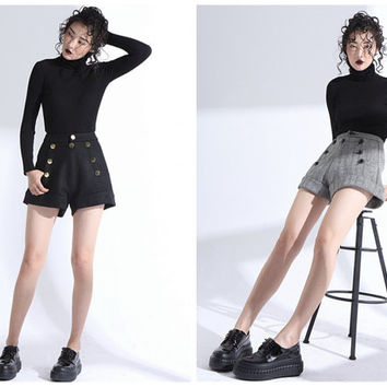 high waisted shorts,wool shorts,black shorts,gray shorts,winter shorts,womens shorts,black high waisted shorts,fashion shorts.--E0795