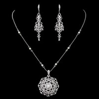 CZ and Pearl Pendant and Earrings Wedding Jewelry Set