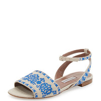 Tabitha Simmons Petal Festival Embroidered Flat Sandal, Natural
