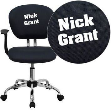 Personalized Mid-Back Gray Mesh Swivel Task Chair with Chrome Base and Arms