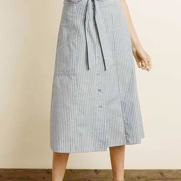 Riley Stripe Midi Skirt in Denim Blue
