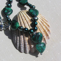 "Teal Jasper, Freshwater Pearl & Apatite Gemstone Crystal Necklace - ""Sea Thistle"""
