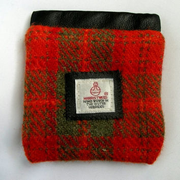 Harris Tweed coin purse blue Scottish made in Scotland traditional clothing accessories womens wallet black leather credit card holder