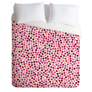 Garima Dhawan Watercolor Dots Berry Duvet Cover