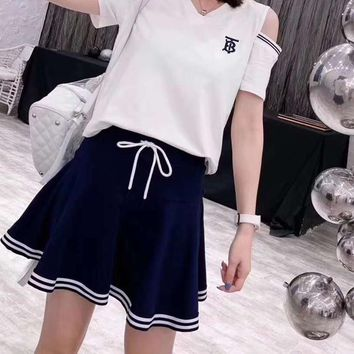 """TB"" Woman's Leisure  Fashion Letter Printing V-Neck Strapless Shoulder Short Sleeve Elastic Band Short Skirt Two-Piece Set Casual Wear"