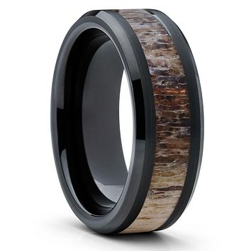 8mm - Deer Antler Ring - Black - Tungsten Wedding Band - Deer Horn