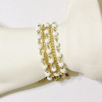 Vintage Coro Pegasus Bracelet White Milk Glass Beads Gold Tone Chains Wedding Jewelry Jewellery Gift for Her Bridal Party Prom
