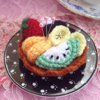 Fruits Tart Crochet Pin Cushion Amigurumi Sweets Cake Sewing Supplies Fruits Tart Home Deco Stuffed Toy Mother's Day Gift