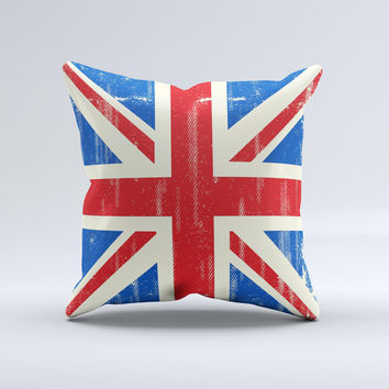 Grunge Vintage Textured London England Flag Ink-Fuzed Decorative Throw Pillow