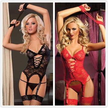Womens Sheer Lace Fishnet Babydoll Bodystockings Body Suit Stocking Lingerie Set
