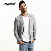 SIMWOOD 2017 New Spring Fashion Casual  Thin Blazer Men Fashion Jacket Linen and Cotton Coats XZ6120