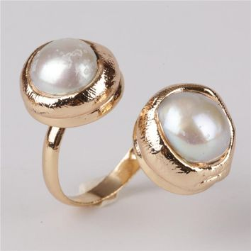 FreshWater Pearl Twist Gold Ring
