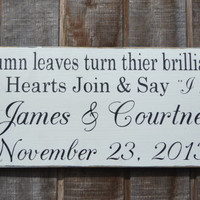 Fall Wedding Sign - Fall Wedding - Autumn - Rustic - Decor - Personalized - Custom - Black & White - Photo Prop - Reception Decor