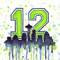 """Seattle Seahawks 12th Man Art"" - Art Print by Olga Shvartsur"