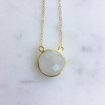 Gold Bezel Set Round Faceted Moonstone on Delicate 14k Gold Chain