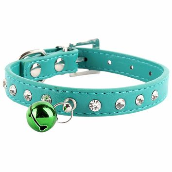 Rhinestone Crystal Dog Cat Puppy Collar PU Leather Buckle With Bell Pet Collar New