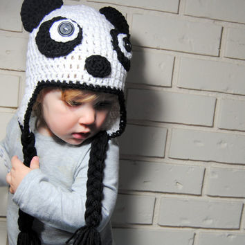Crochet Panda Hat, Baby Animal Hat, Knit Hat, Kids Panda Hat, Toddler Crochet Hat, Baby Girl Hat, Baby Boy Hat, Newborn Photo Prop, Earflap