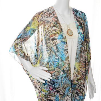 Bohemian Feathers Kimono Cardigan/ Kimono Jacket / Lightweight Cardigan Wrap / Boho Kimono Shawl / Beach Cover up / Gift for her