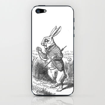 Vintage Alice in Wonderland the White Rabbit emo goth antique book drawing sketch art print iPhone & iPod Skin by iGallery