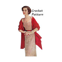 Woman's Granny Square Dress and Stole, Prayer Shawl, Wrap Crochet Pattern || Vintage 1950's ||Reproduction Printed Pattern Esther S-384