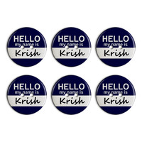 Krish Hello My Name Is Plastic Resin Button Set of 6