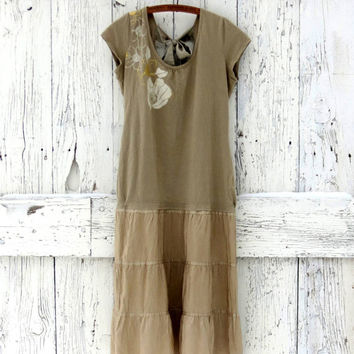 Great Gatsby style dress- upcycled drop waist dress- indie fashion beige dress- vintage inspired- refashioned clothes- ecofashion