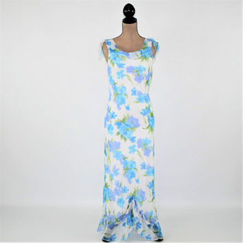 Romantic Boho Maxi Dress Women Summer Dress Long Floral Chiffon Sleeveless White Blue Purple Small Medium Vintage Clothing Womens Clothing