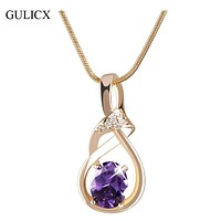 GULICX New Purple Crystal Wedding Jewelry for Women 18K Gold Plated Luxury Brand Statement Zirconia Pendant Necklace P019/P020