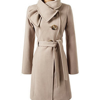 Scarf Trim Coat Mushroom - Dress Coats - COATS - Jessica Simpson Collection