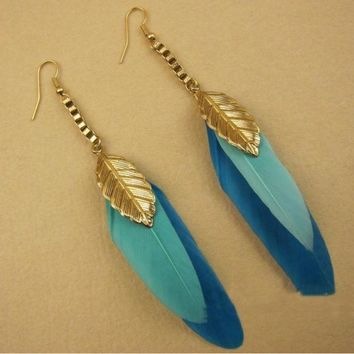 ONETOW Fashion long original original double feather leaves earrings