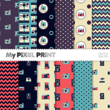 Photo Cameras - Retro Camera  Old Camera Memories Vintage Photo Pattern Digital Scrapbooking Paper Pack - My Pixel Print