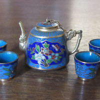 Darling Chinese Cloissone Tea Pot and Four Cups Miniature Set