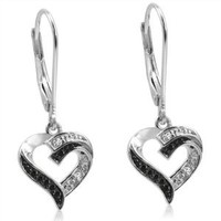 Black and White Diamond Heart Lever-Back Earrings in Sterling Silver: Jewelry: Amazon.com