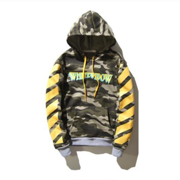 OFF WHITE Hip-Hop Casual Camouflage Hoodie with Velvet Hooded Sweater Camouflage