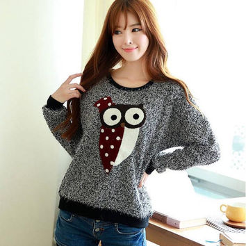 Women's Loose Pullover Owl Pattern Long Sleeve Sweatshirt Hoodie - Available 2 Great Colors!