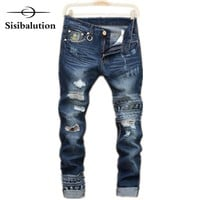 Mens Ripped jeans male new Runway slim Trousers denim Biker Slim hiphop pants Washed Printed Skull blue homme street design