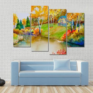 Autumn Landscape With Old Barn And Pond Multi Panel Canvas Wall Art