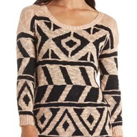 Oversized Aztec Tunic Sweater by Charlotte Russe - Tan Combo