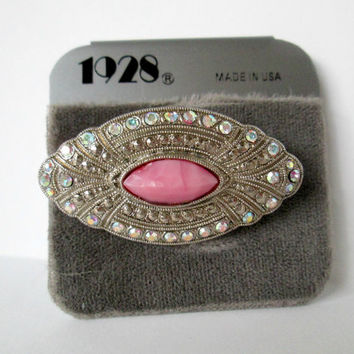 "Vintage 1928 Jewelry Brooch Lovely with a Pink ""Stone"" Surrounded with Marcasites and AB Rhinestones Silver Tone Metal Used Very Nice"