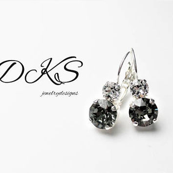 Swarovski Bridal Earrings, Black Diamond and Crystal, Lever Backs, Drops,  8MM, Shiny Silver, DKSJewelrydesigns, FREE SHIPPING