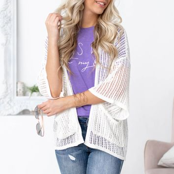 Open Knit Cover Up  Off White