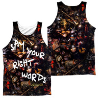 LABYRINTH/RIGHT WORDS (FRONT/BACK PRINT)-ADULT 100% POLY TANK TOP-WHITE