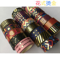 Beautirul Golden foil washi paper  tape/Color dot and wave and  Triangle Design washi  tape/15mm*10m